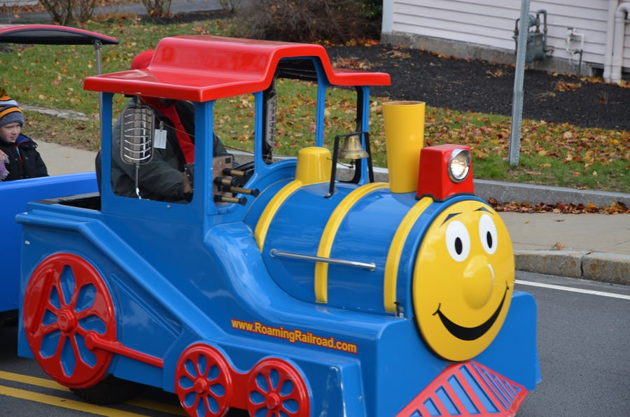 Trackless Train at the Holiday Festival.