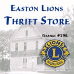 Historic photo of old Grange Hall and Easton Lions Thrift Store.