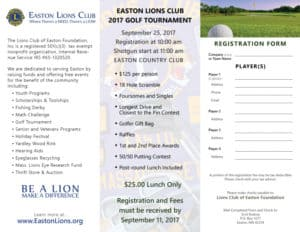Easton Lions Golf Tournament 2017 Trifold-Flyer inside