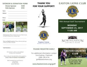 Easton Lions Golf Tournament 2017 Trifold-Flyer outside