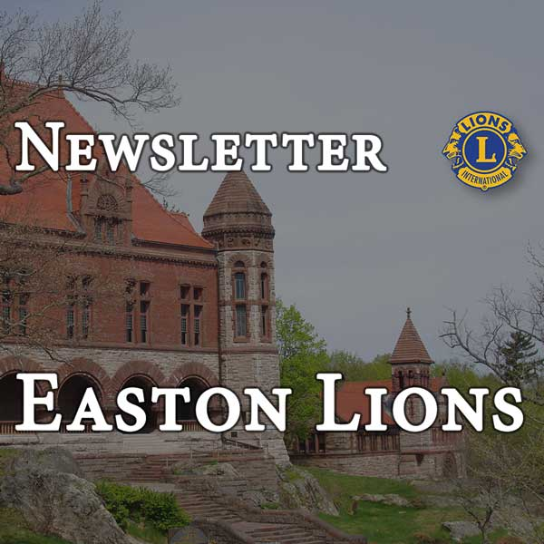 Newsletter for the Easton Lions header with Oakes Ames Hall and Ames Free Library in background.
