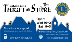 Easton Lions Thrift Store Business Card Front.