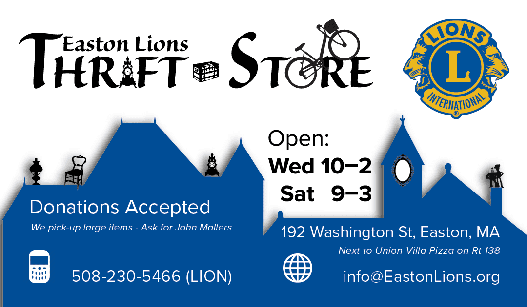 Thrift store media easton lions club easton lions thrift store business card front reheart Gallery