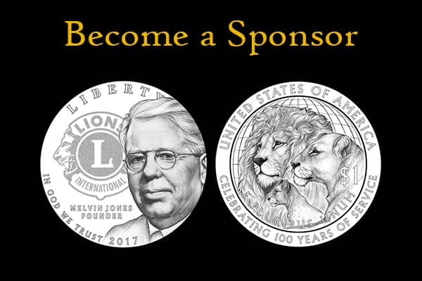 Become a sponsor above the silver coins commemorating the 100th anniversary of Lions Clubs International.