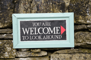 You are welcome to look around sign for the Thrift Store.