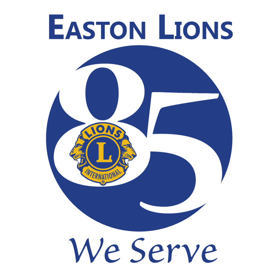 Easton Lions We Serve 85th anniversary logo.