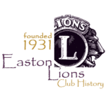 Easton Lions Club History Logo, since 1931.