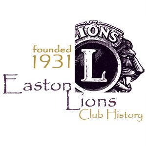 Easton Lions Club History Logo, since 1931.