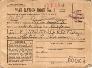 WWII war ration certificate.