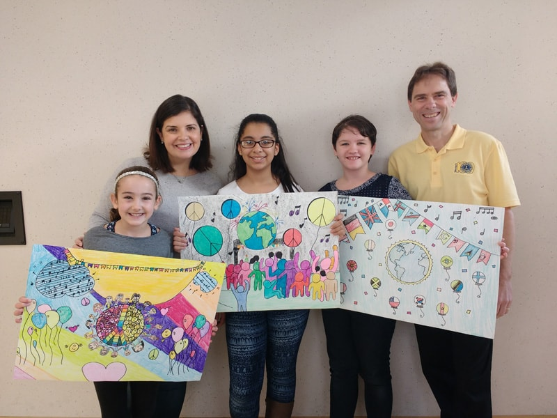 Easton Lions Peace Poster winners November 2016 at Easton Middle School.