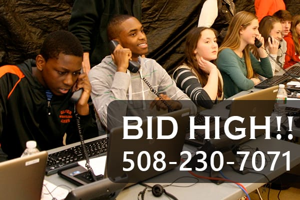 Bidding rules call-out with people on phones taking calls for bids.