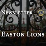 Newsletter for the Easton Lions header with Stonehill Clock Farm beyond fence in background.