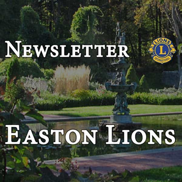 Newsletter for the Easton Lions header with Queset Gardens image in background.