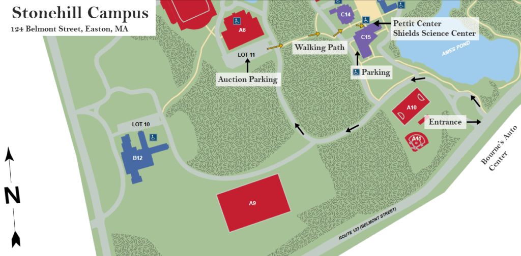 Stonehill Campus Map for Auction Parking and Locations.