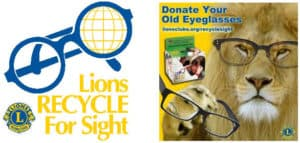 Lions Recycle for Sight and donate old eyeglasses on a Lion.