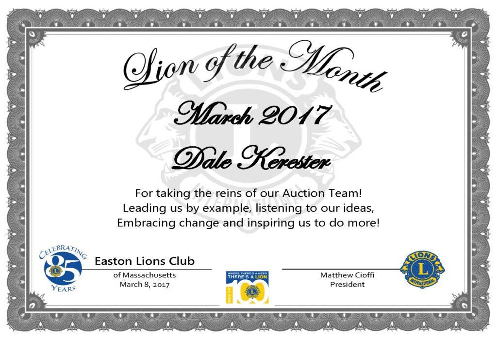 Lion of the Month - March 2017 - Dale Kerester