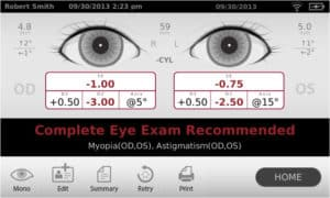 Spot Vision Screener Camera Screen Shot of Results