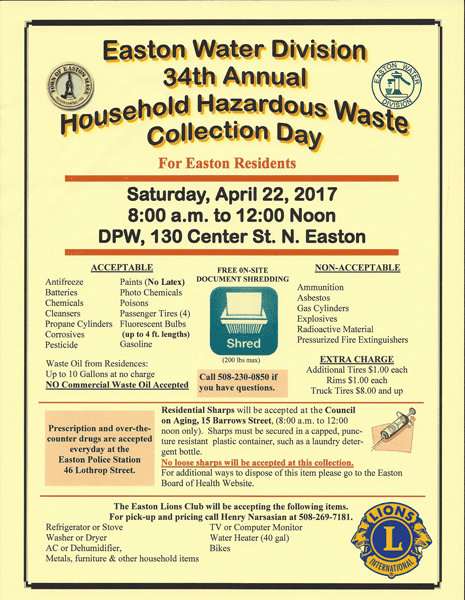 2017 Easton Lions Junk Day and Easton Water Division 34th Annual Household Hazardous Waste Collection Day