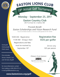 Easton Lions Golf Tournament 2017 Poster 8.5x11