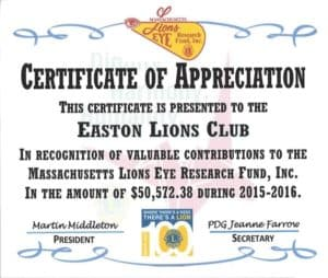 Certificate of Appreciation from District 33S