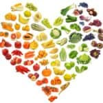 Heart filled with fresh food