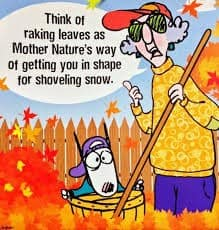 Raking leaves getting you in shape cartoon.
