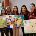 Easton Lions Peace Poster Contest 2017 picture of winning artists and teachers.