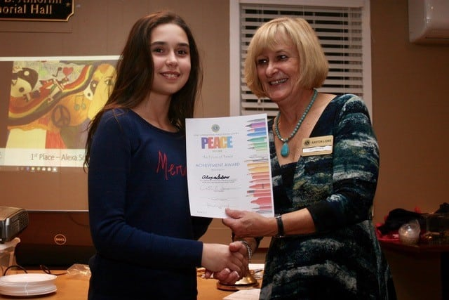 Award Ceremony Easton Lions Peace Poster Contest 2017 Winner 1st Place