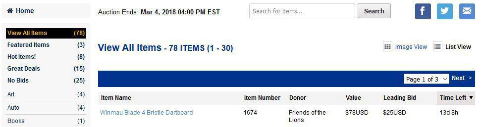 Bidding for Good screenshot for sorting item list.