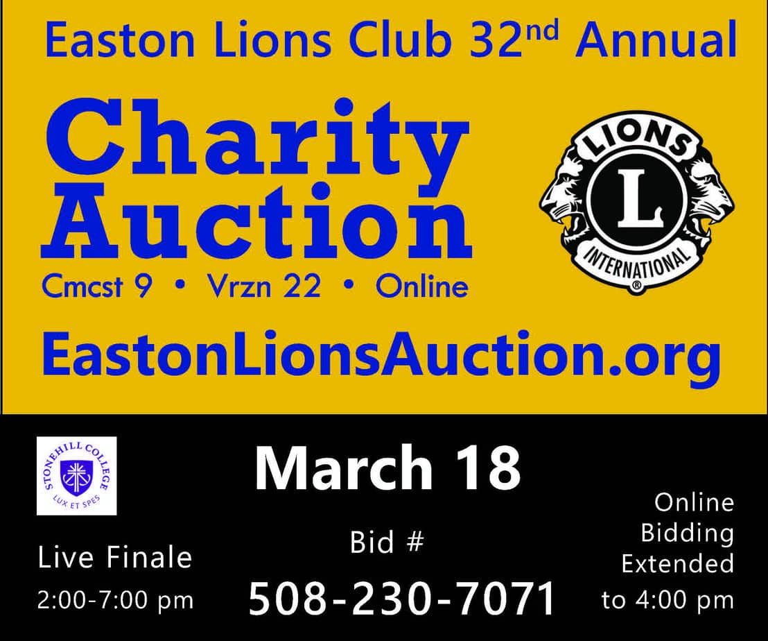 Easton Lions Charity Auction 2018 promo ad for Mar 18
