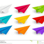 Colored Paper Airplane array