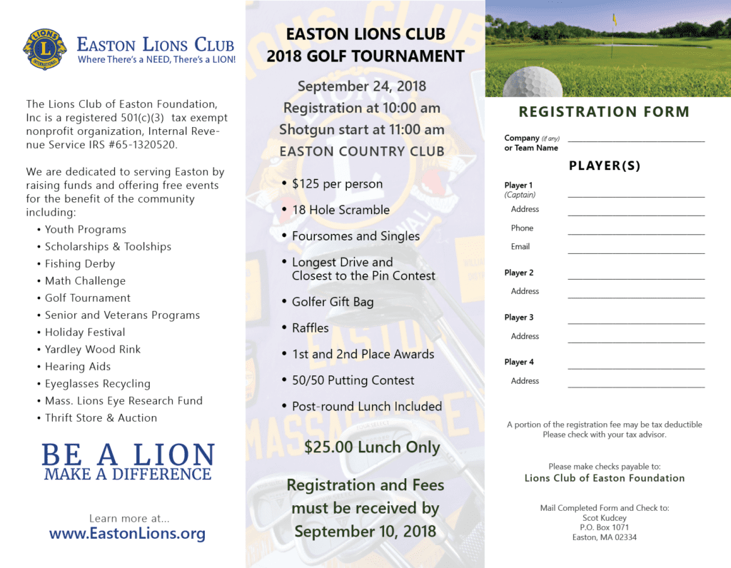 Easton Lions Golf 2018 Inside Trifold Flyer