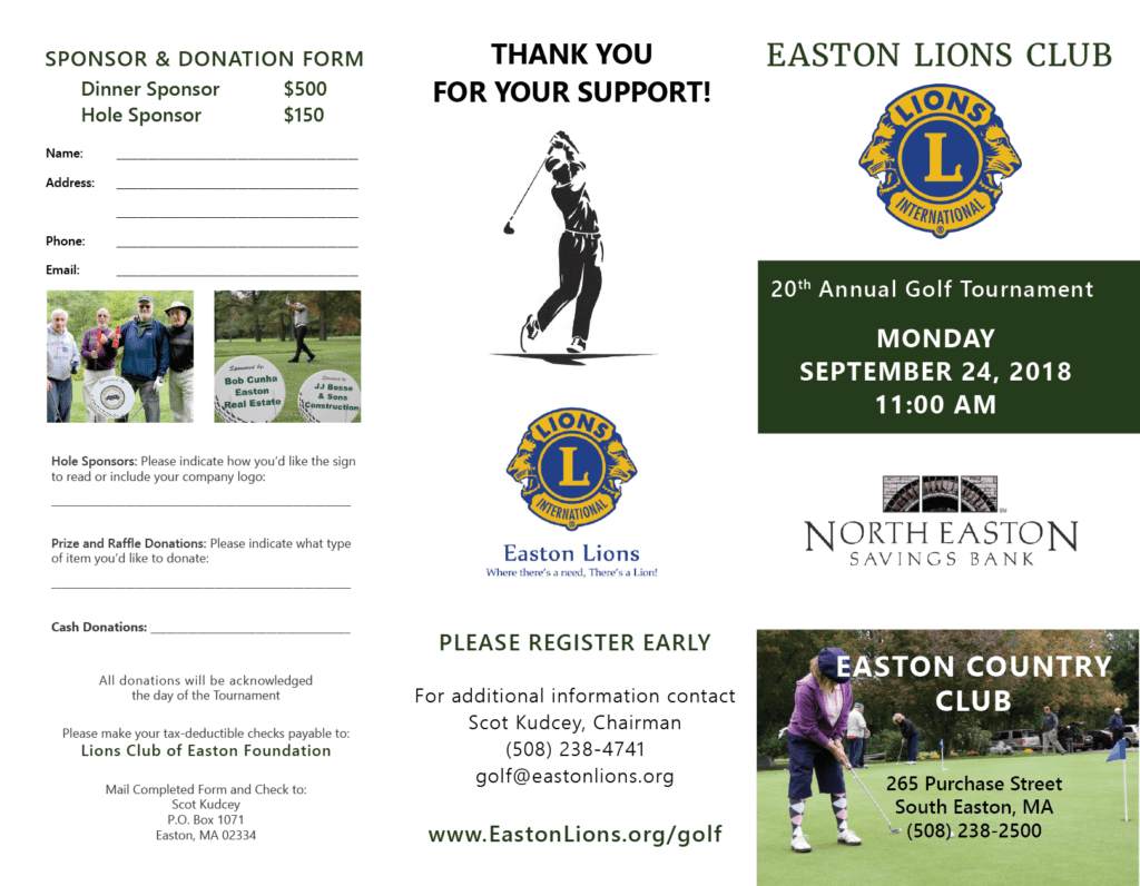 Easton Lions Golf 2018 Outside Trifold Flyer