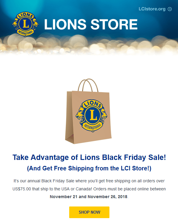 Lions Store Black Friday Sale Free Shipping November 2018