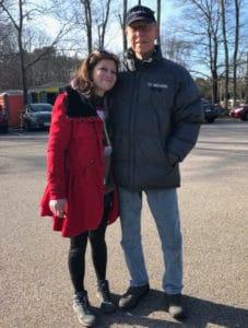 Kelly Estey and Gus Arns at Reindog Show 2018 at Yardley Wood Rink