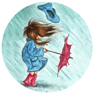 Wind, rain, umbrella with child  in blue raincoat and red boots.