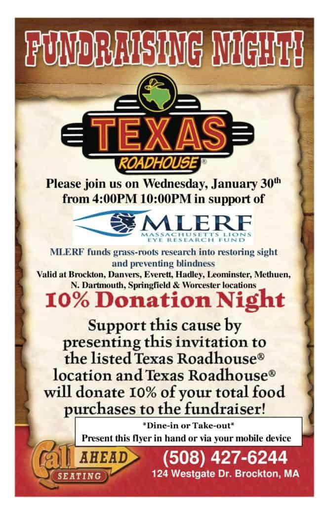 MLERF Texas Roadhouse fundraiser January 30, 2019.