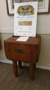 antique butcher block Governor Ames' Estate on display at NESB on Main St oin Easton, MA