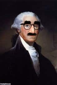 George Washington in Gracho glasses.