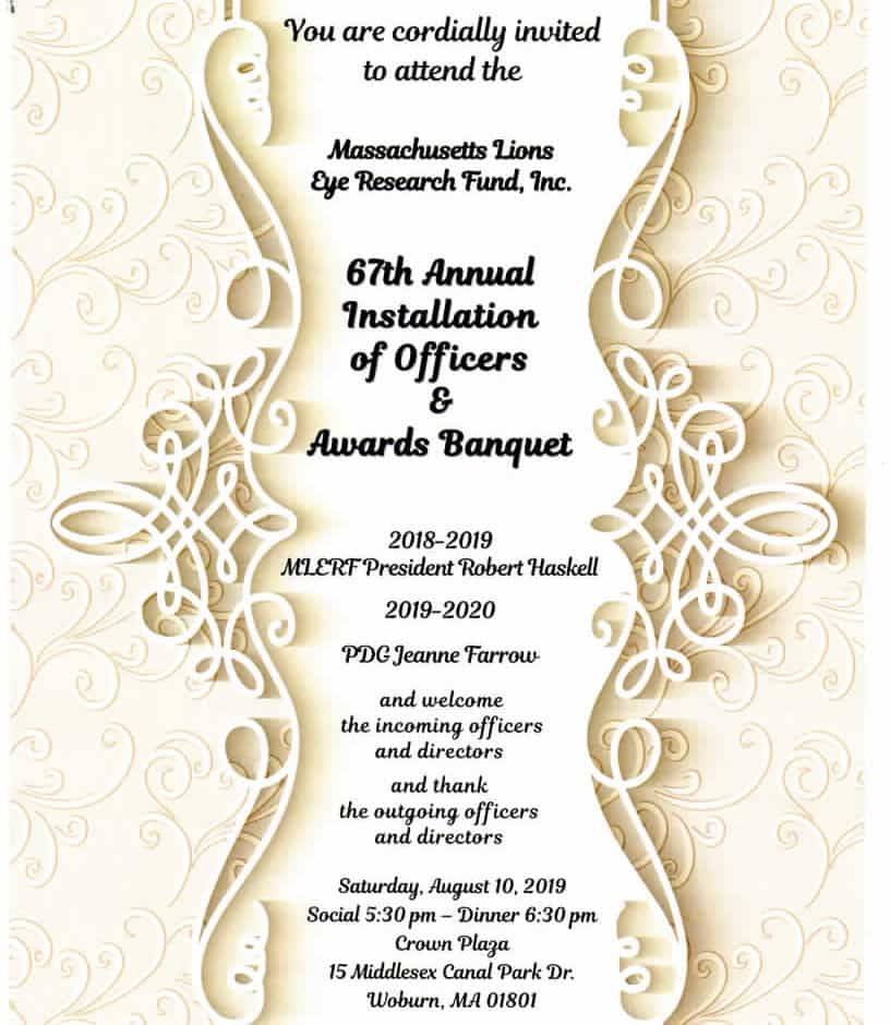 MLERF Invitation to Installation of Officers and Awards Banquet August 2019.
