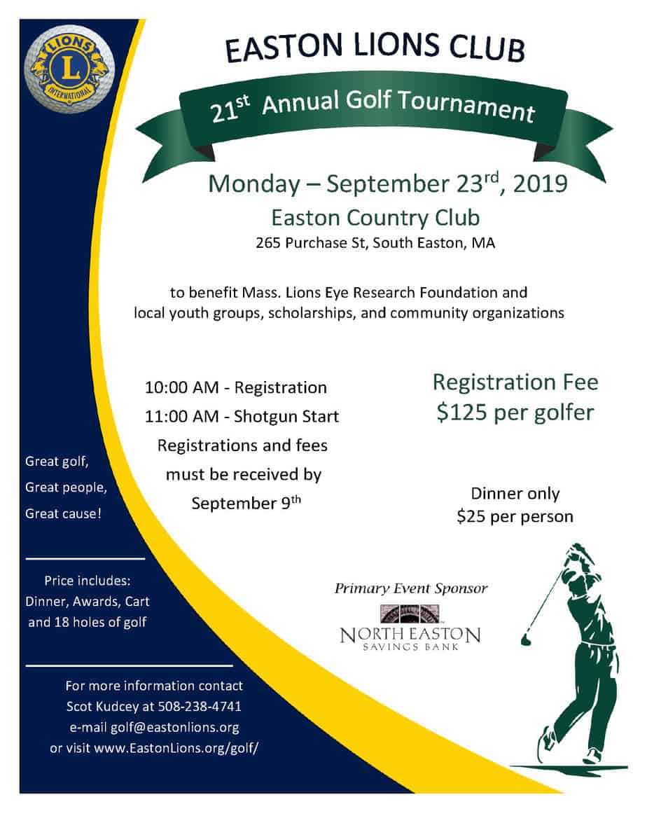 Easton Lions Club Golf Tournament September 23, 2019, poster - sized 8.5x11.