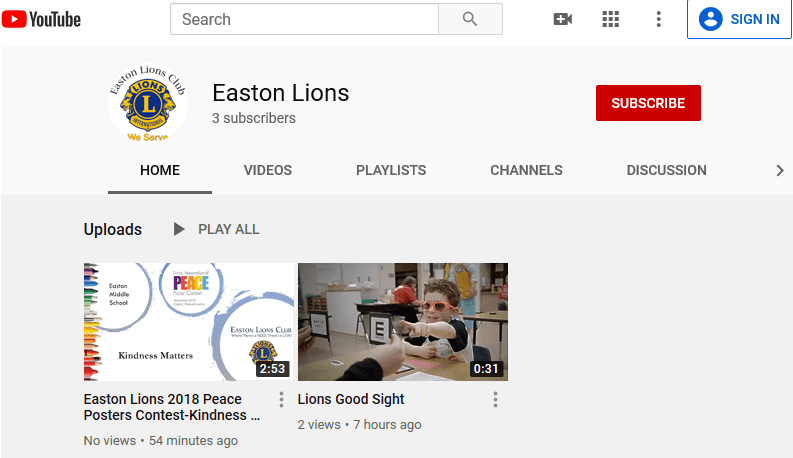 Easton Lions New YouTube Channel subscription page.