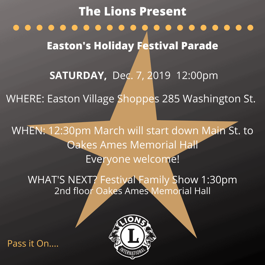 The Easton Lions Present the Holiday Kids Parade and Festival Family Show on December 7, 2019