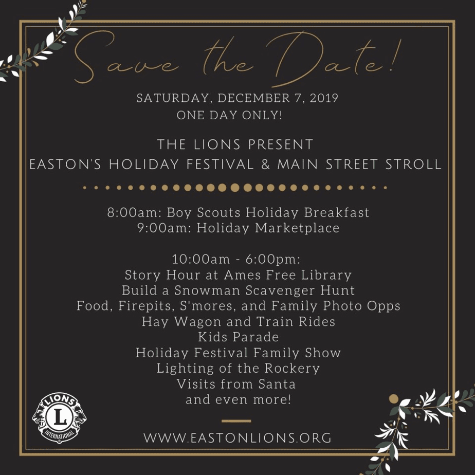 Easton Lions Club Holiday Festival and Main Street Stroll 2019 Save The Date poster