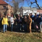 Easton Lions at the Rockery clean-up for the Holiday Festival in North Easton at Oakes Ames Memorial Hall