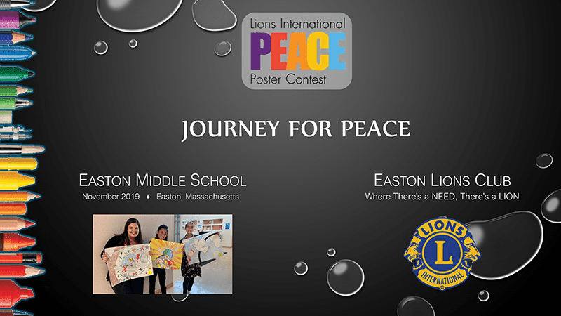 Easton Lions 2019 Peace Poster Contest video over for the Easton Middle School posters.