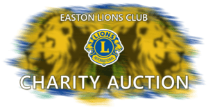 Easton Lions Charity Acution logo, two lion heads back-2-back