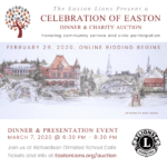 Easton Lions Celebration of Easton dinner and Online Auction event with background of Mary Bodio's print of Easton landmarks.