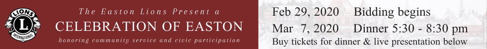 Auction and Celebration of Easton presented by the Easton Lions baner for Feb 29-Mar 7, 2020