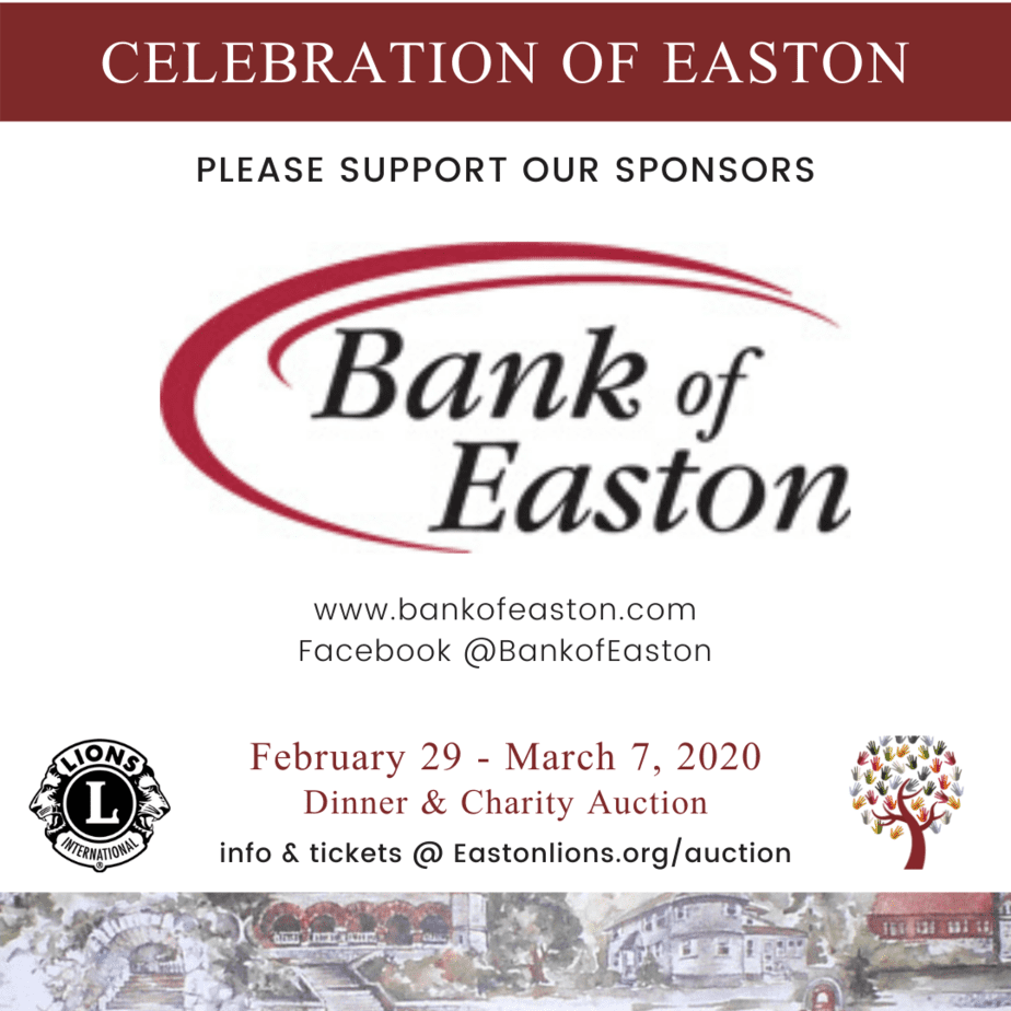 Bank of Easton sponsor for Easton Lions Club Auction Celebration 2020